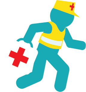 First-aider rushing to emergency